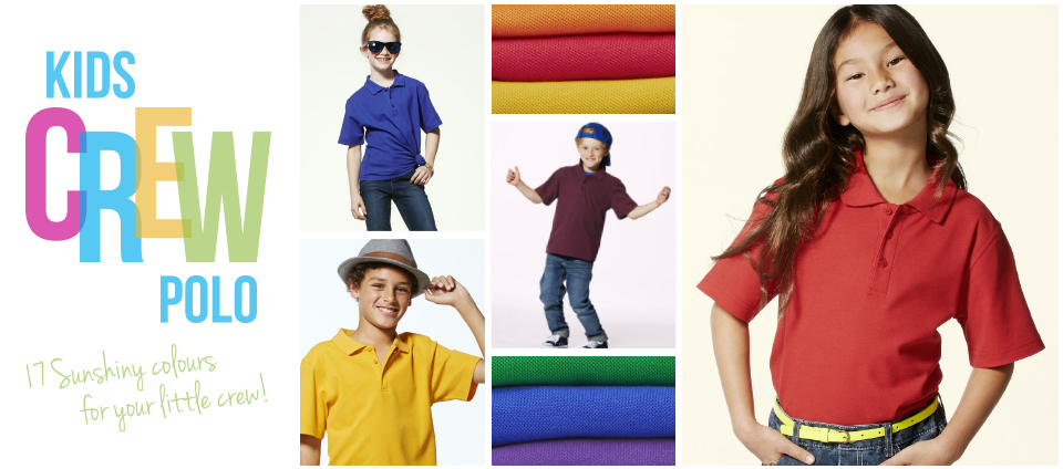 Kids Crew Polo - 17 Sunshiny colours for your little crew!
